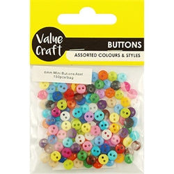 Mini Buttons 6mm Multi Assorted 100pcs