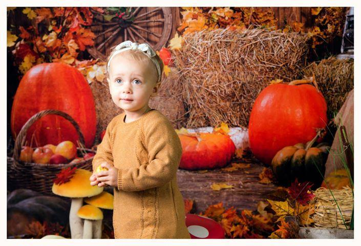 Load image into Gallery viewer, Kate Autumn Harvest Thanksgiving Pumpkins Backdrop for Photography