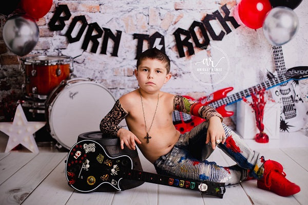 Kate Born to Rock with Guitar Children Backdrop Designed by Megan Leigh Photography