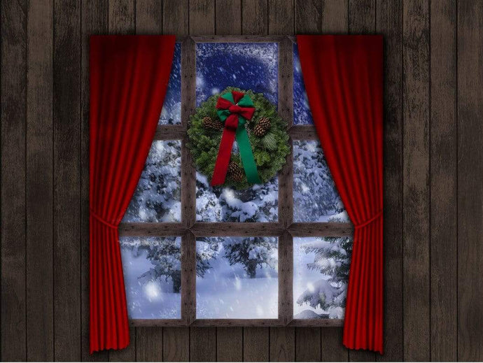 Kate Christmas Window Wreath Night Sky Backdrop for Photography Designed By Jerry_Sina