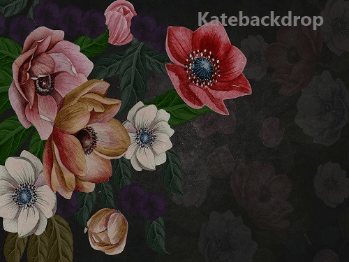 Load image into Gallery viewer, Kate Mother's Day Floral Vintage Flowers Black Backdrop for Photography by Jerry_Sina