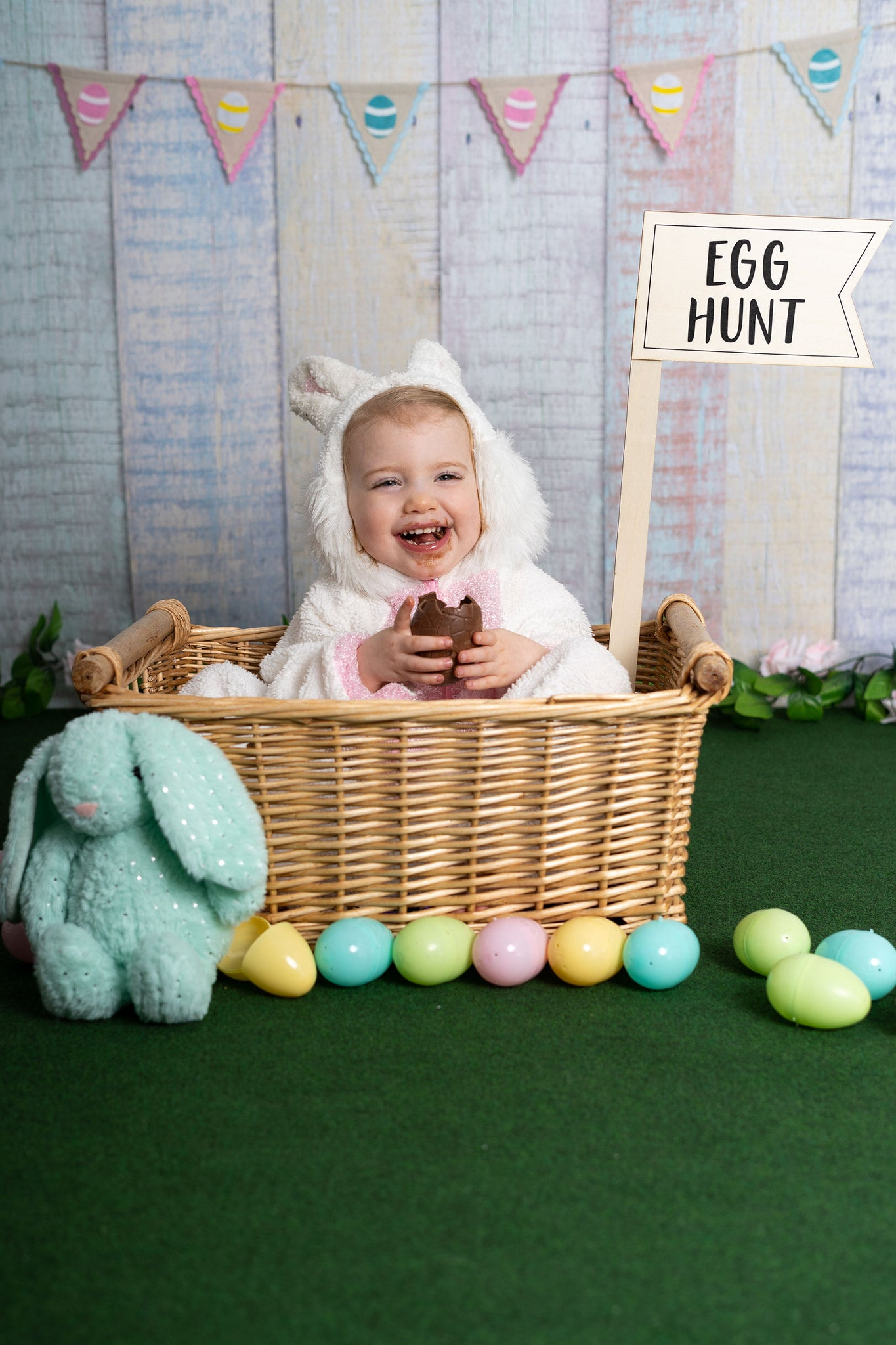 Load image into Gallery viewer, Kate Easter Colorful Wood Backdrop Photography