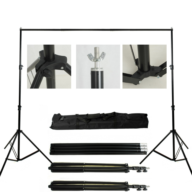 Kate Equipment 8.5x10ft&10x10ft Black Aluminum Backdrops Stand (3cm Thick)
