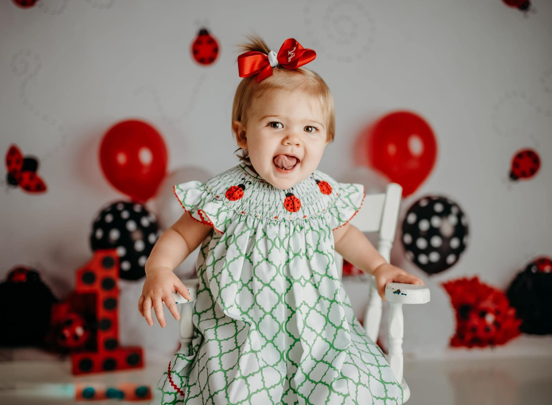 Load image into Gallery viewer, Kate Little Lady Bug Birthday Children Backdrop Designed By Mandy Ringe Photography