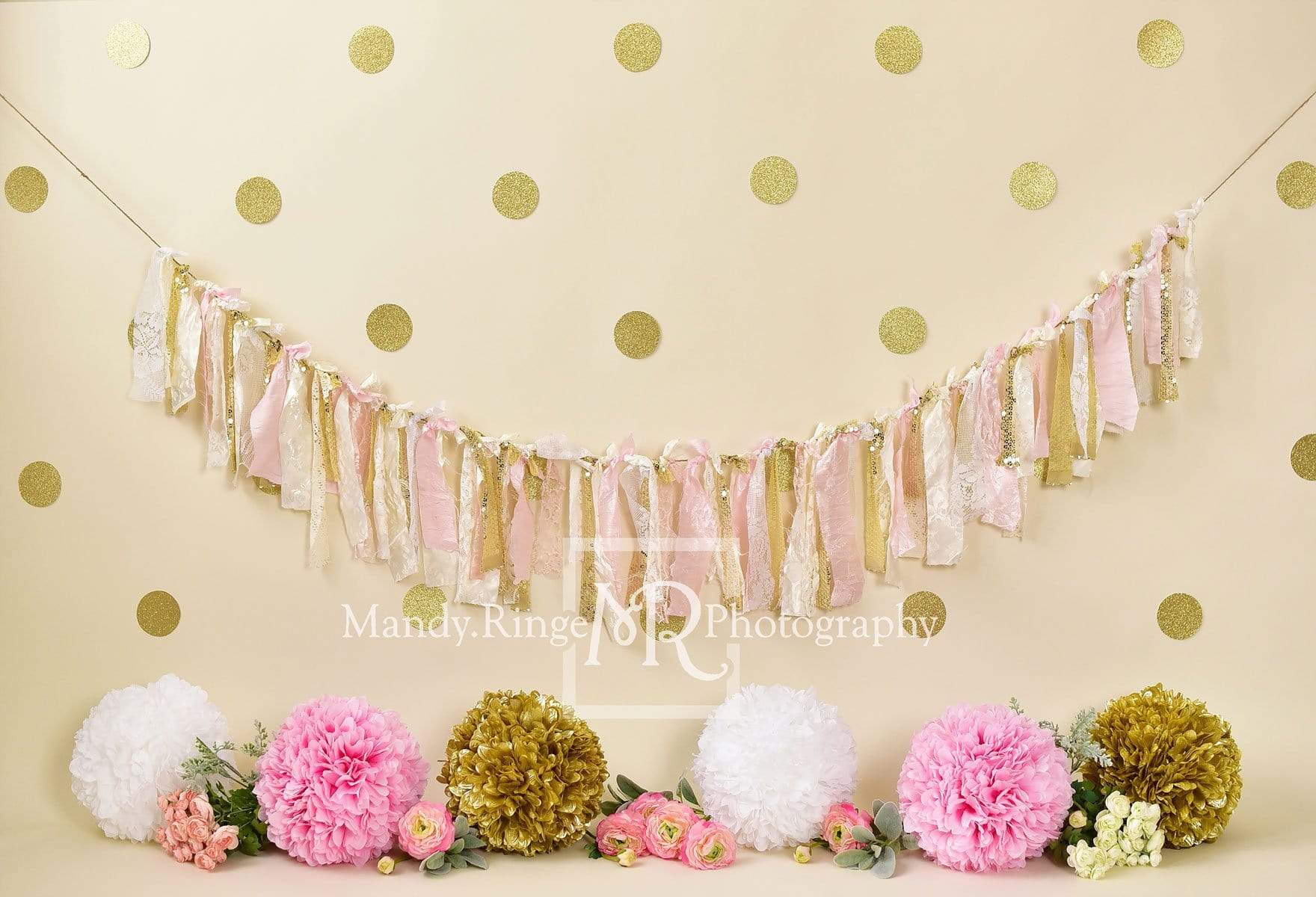 Load image into Gallery viewer, Kate Pink and Gold with Polkadots Birthday Backdrop for Photography Designed by Mandy Ringe Photography