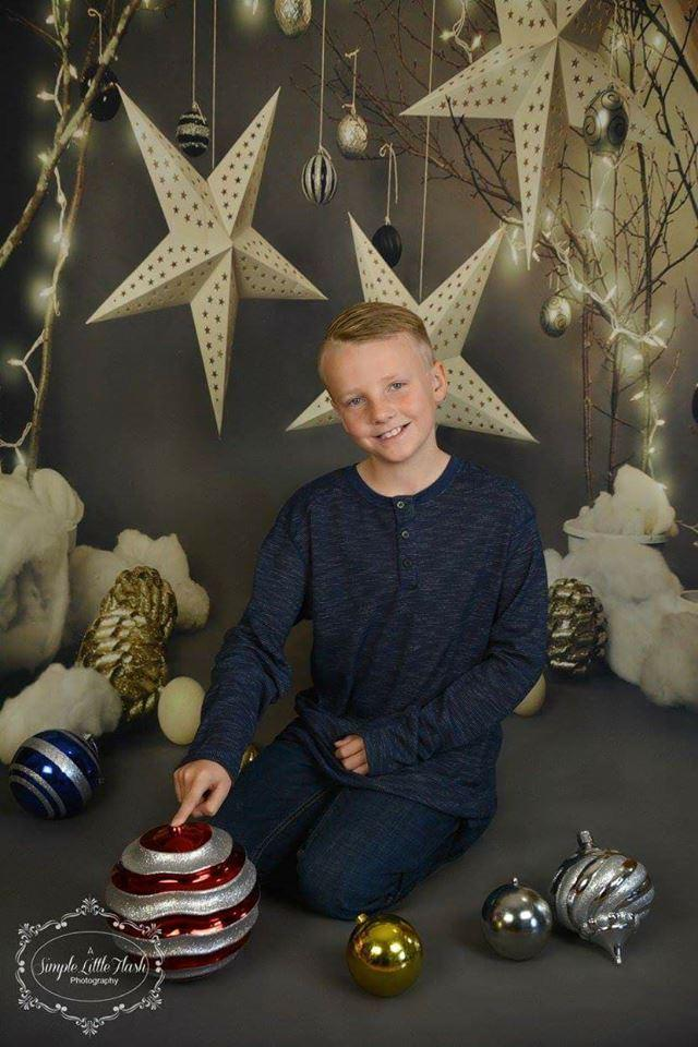 Load image into Gallery viewer, Kate Children Grey Star Photography Backdrops for Christmas photos deco