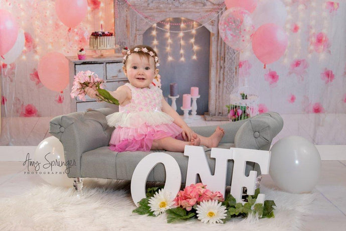 Kate Cake Smash For Party Photography Pink 1st birthday Backdrop Balloons