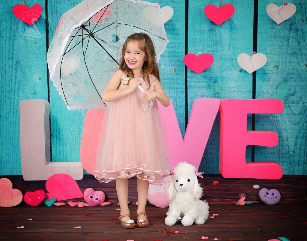Kate Valentine'S Day  Wooden Wall Love Photography Backdrop