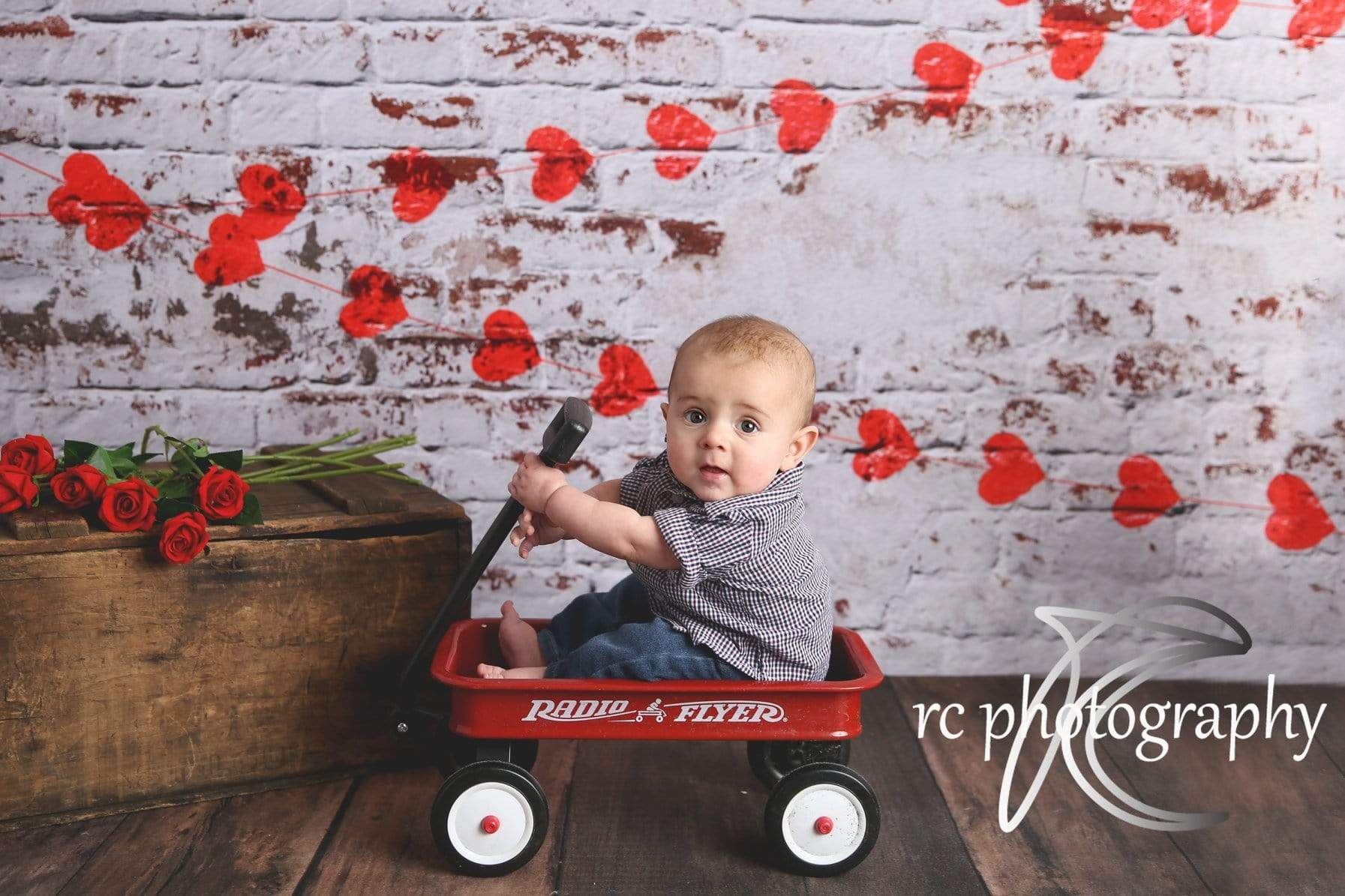 Load image into Gallery viewer, Kate white brick wall with red hearts Valentine's Day Backdrop for Photography designed by Jerry_Sina