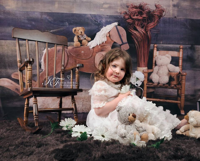 Kate Rocking Horse and Teddy Bear Children Backdrop for Photography Designed by Amanda Moffatt