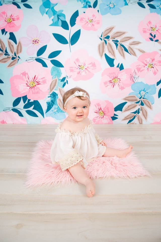 Load image into Gallery viewer, Kate Mother's Day Retro Spring Flowers Cake Smash Children Backdrop for Photography Designed by JFCC