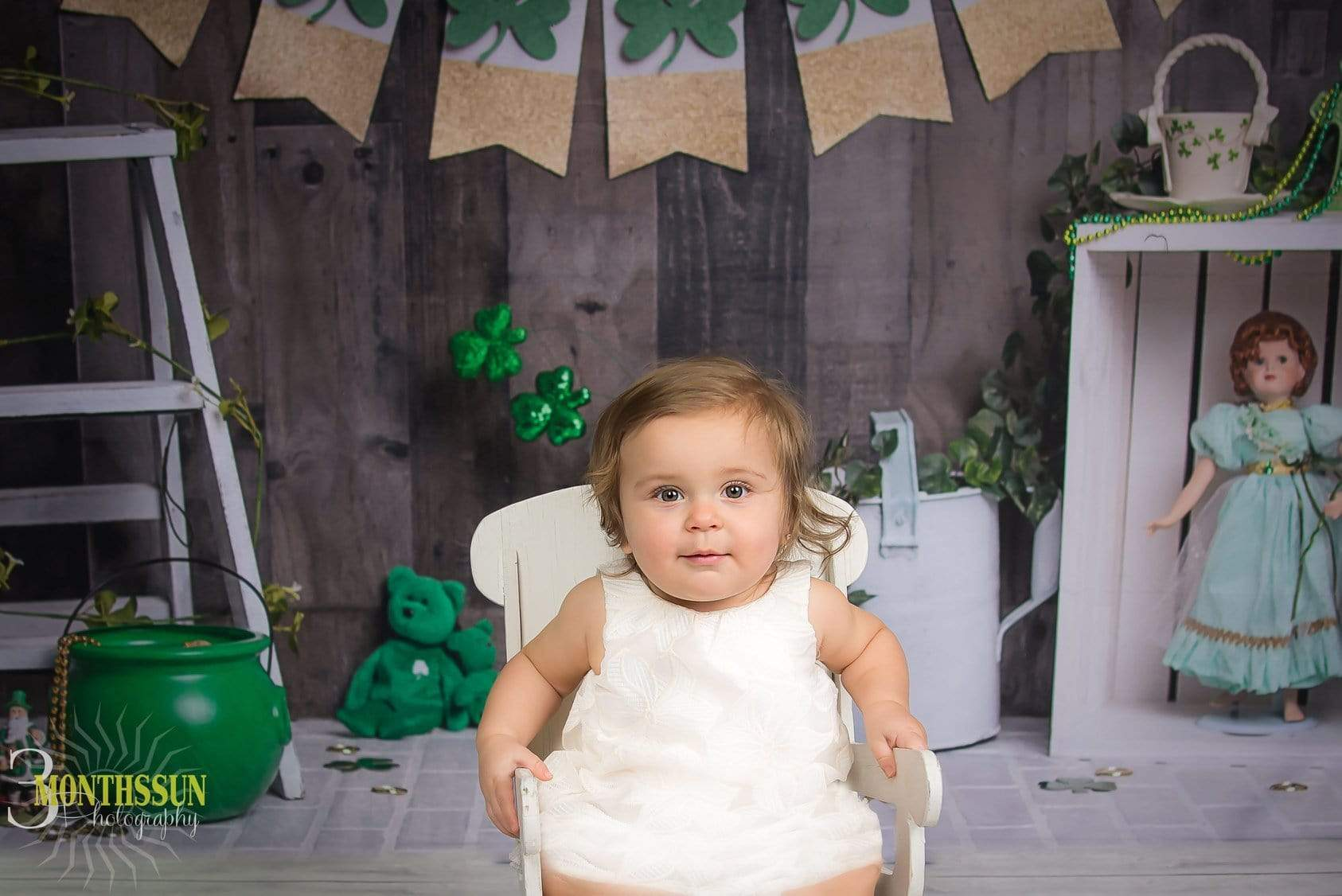 Load image into Gallery viewer, Kate Wood Wall with Banners St.Patrick's Day Backdrop for Photography Designed by Erin Larkins