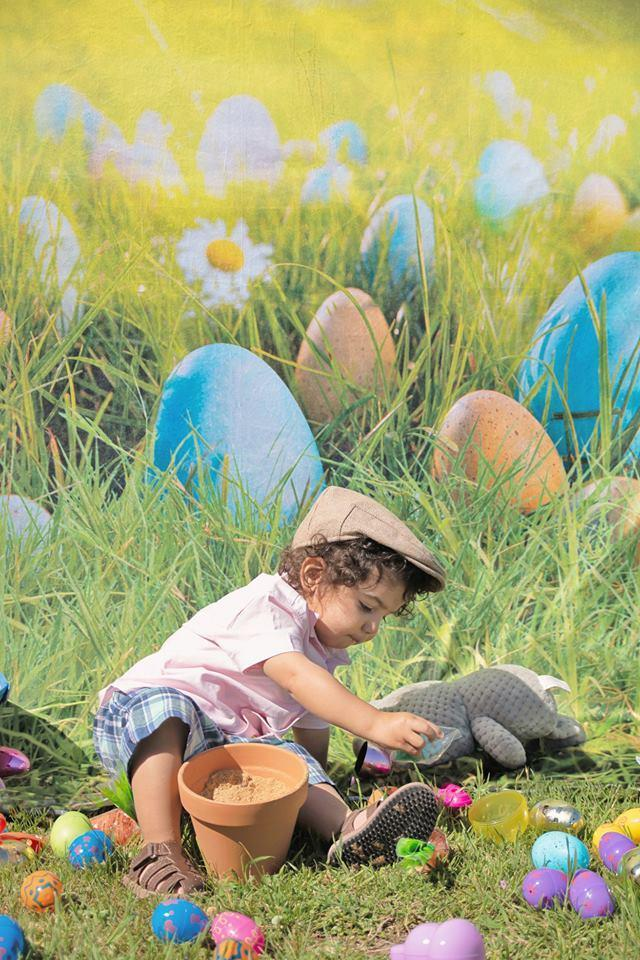 Kate Happy Easter Eggs Spring Flowers Backdrop