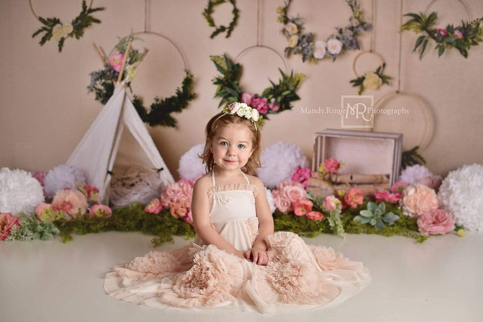 Kate Spring Flowers Camping Children Birthday Backdrop for Photography Designed by Mandy Ringe Photography