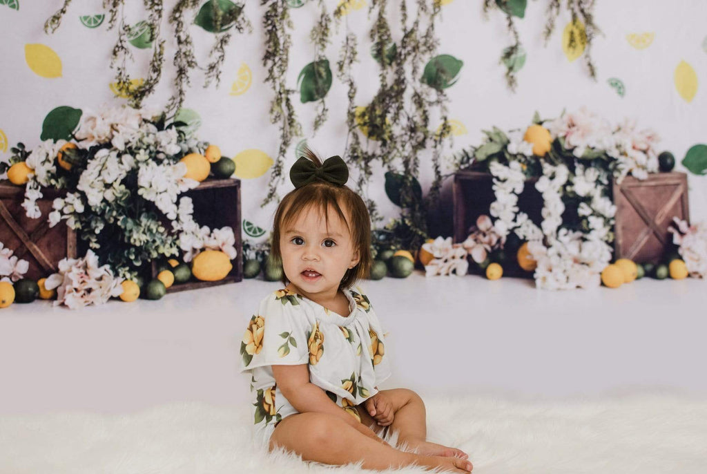 Kate Lemon Lines with Flowers Summer Children Backdrop for Photography Designed by Megan Leigh Photography
