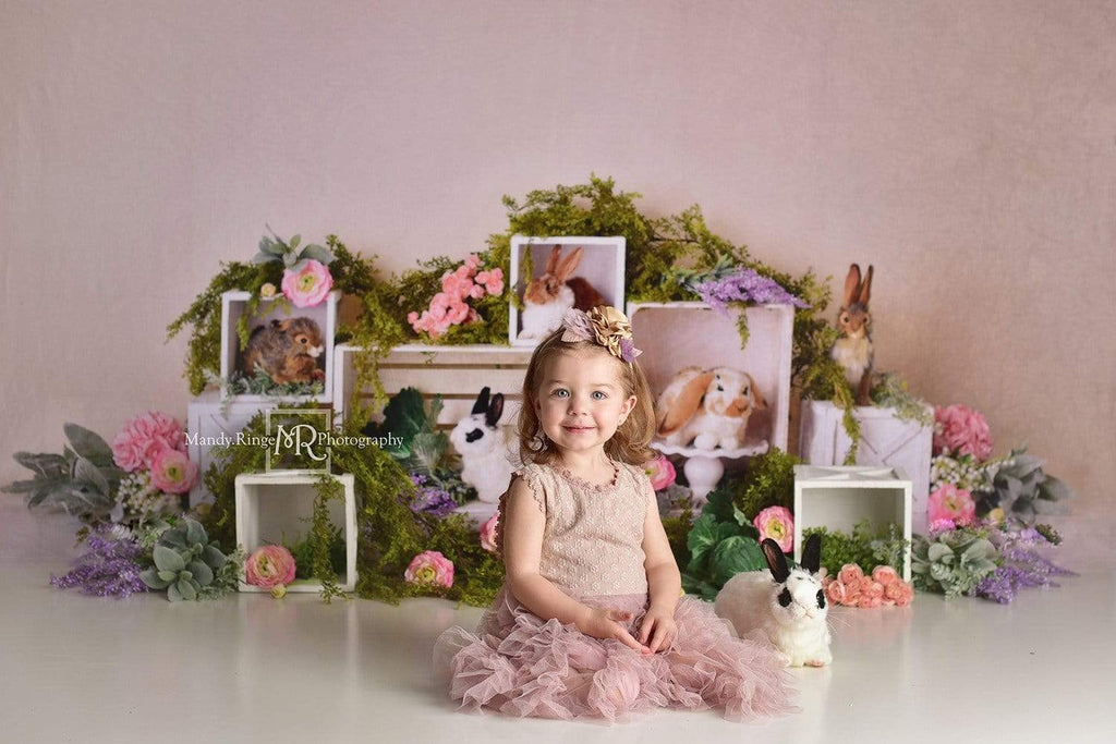 Kate Spring Rabbits Flowers Children Easter Backdrop for Photography Designed by Mandy Ringe Photography