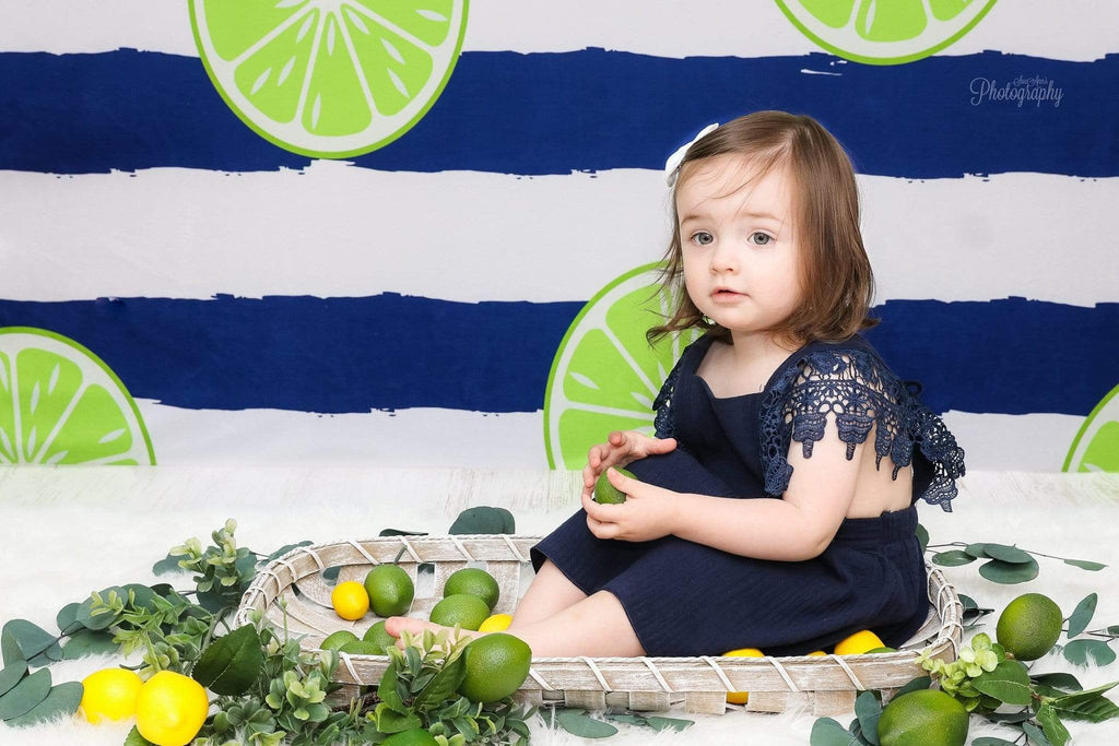 Kate Lemons Blue and White Stripe Backdrop for Photography Summer Holiday Children