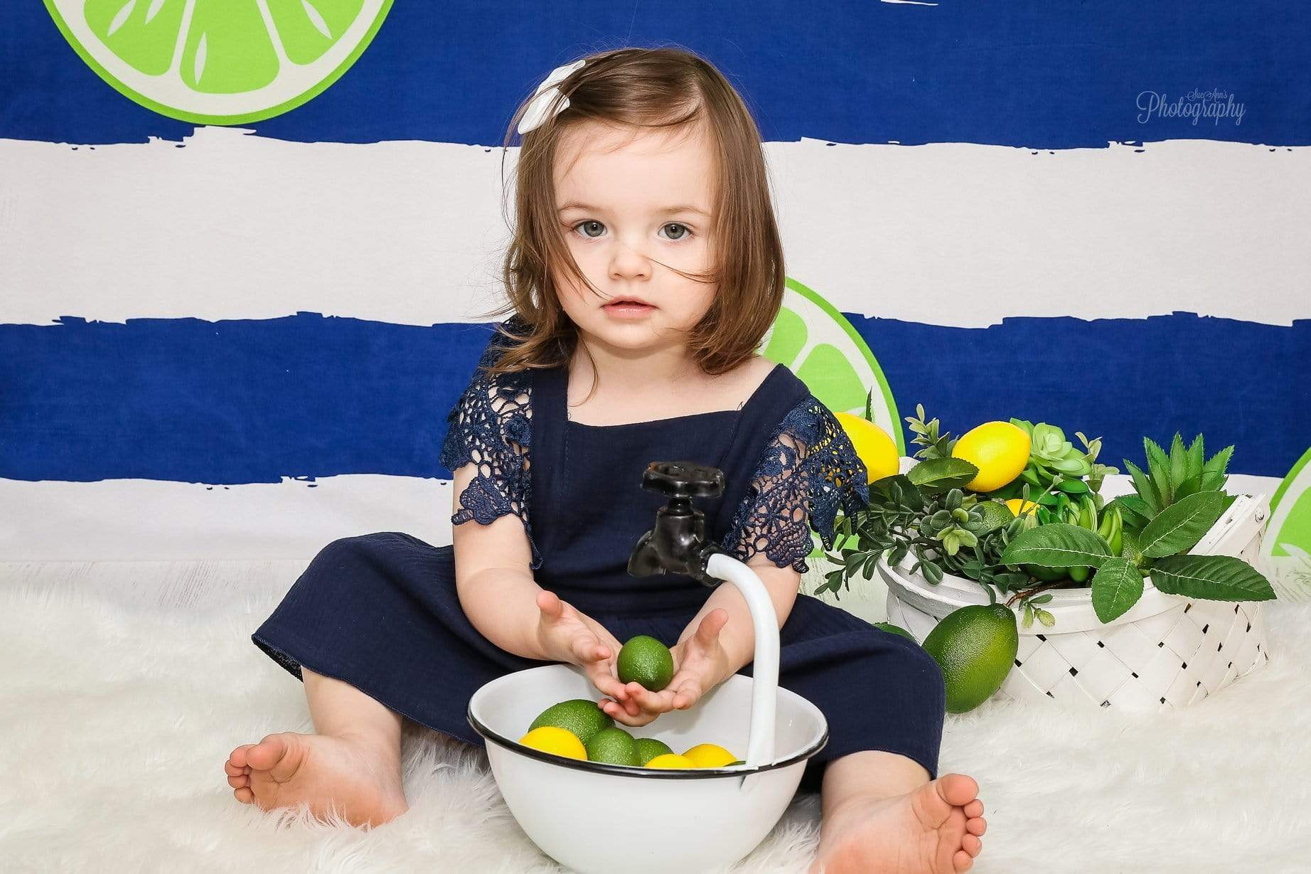 Load image into Gallery viewer, Kate Lemons Blue and White Stripe Backdrop for Photography Summer Holiday Children