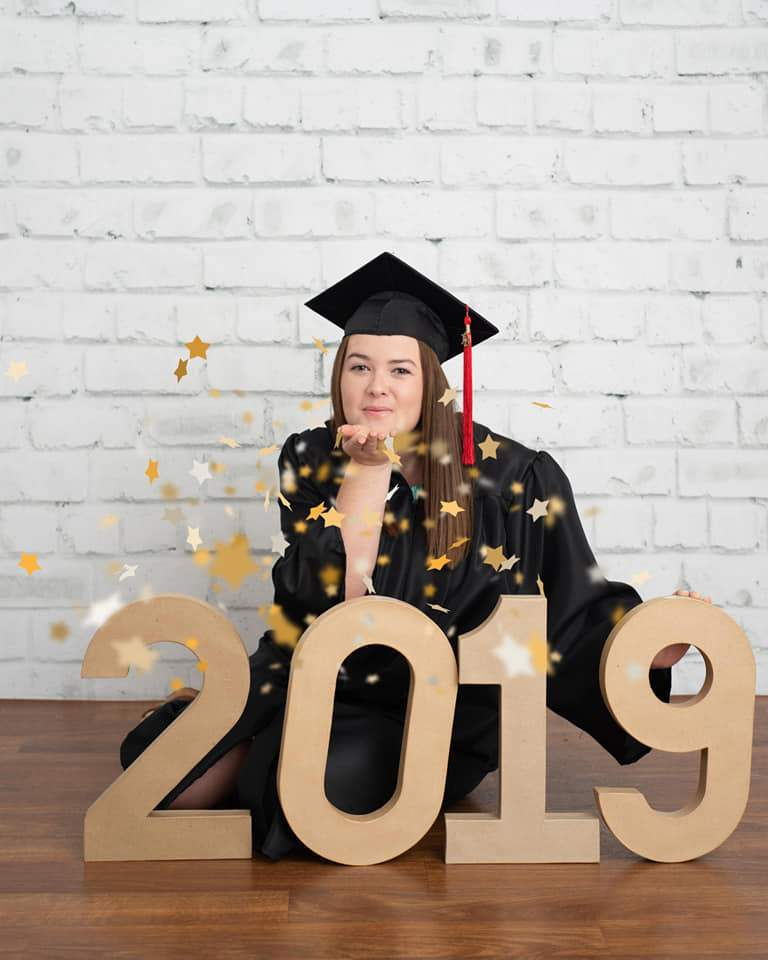 Load image into Gallery viewer, Kate Gray White Brick Wall Graduation Backdrop Studio