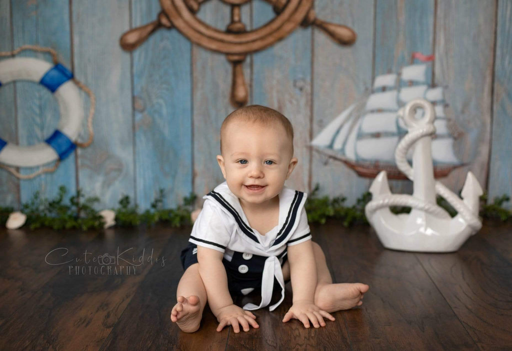 Kate Adventure Nautical Sailor Children Backdrop for Photography Designed by JFCC