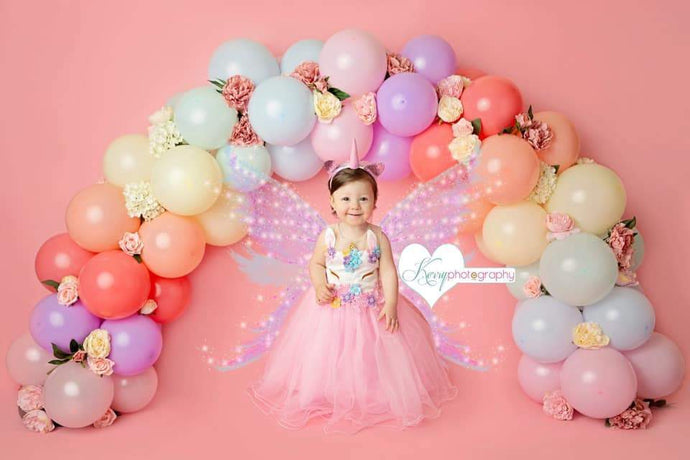 Kate Rainbow Floral Balloons Birthday Children Backdrop for Photography Designed by Kerry Anderson
