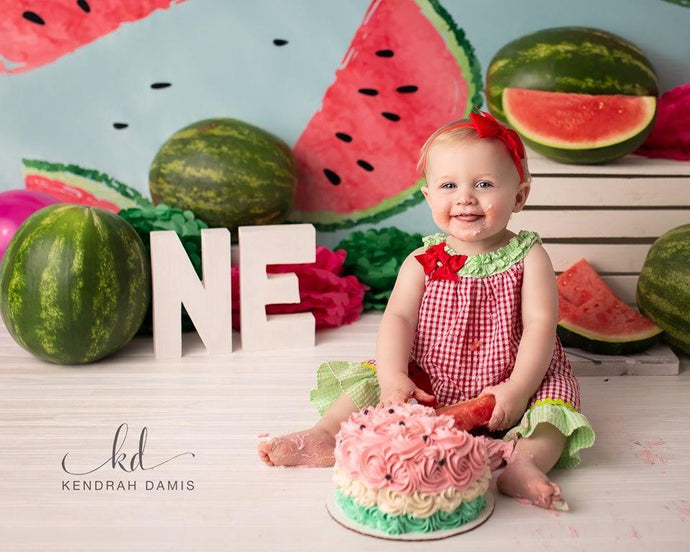 Kate Fresh Background Summer Watermelon Backdrop cake smash/birthday