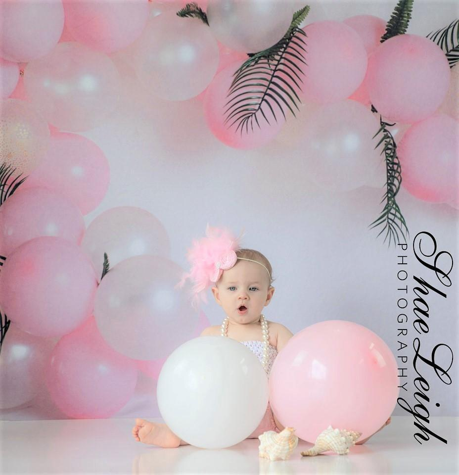 Load image into Gallery viewer, Kate Pink Balloon Garland Birthday Backdrop for Photography Designed by Megan Leigh Photography