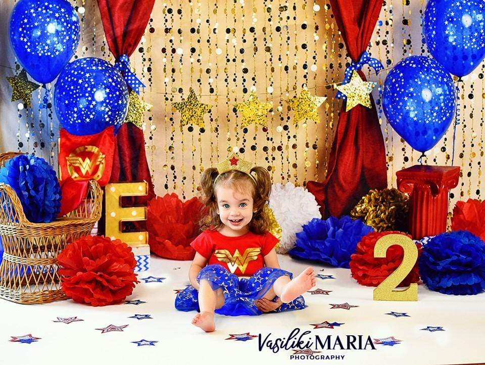 Load image into Gallery viewer, Kate One-der Woman First Birthday Balloons Backdrop for Photography Designed by Mandy Ringe Photography