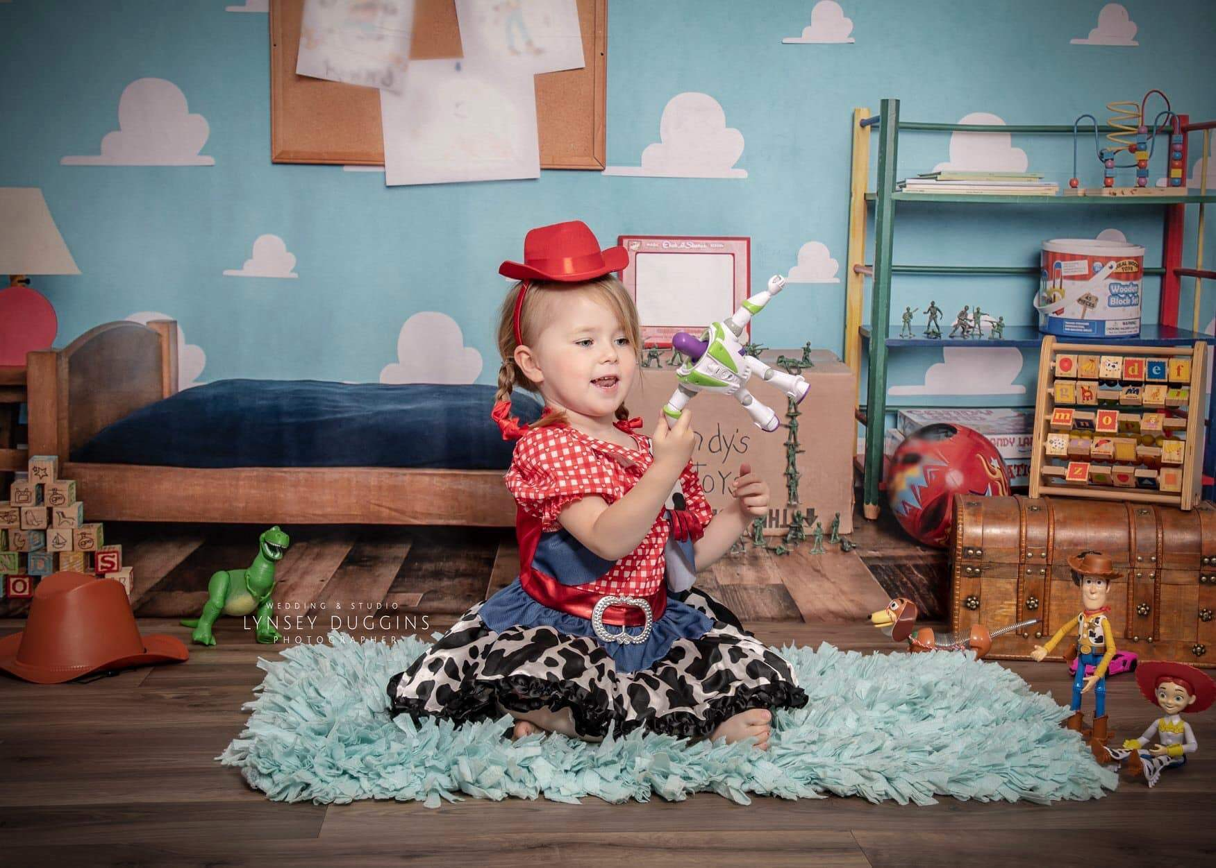 Load image into Gallery viewer, Kate Toy Room With Bed Children Backdrop for Photography Designed by Erin Larkins