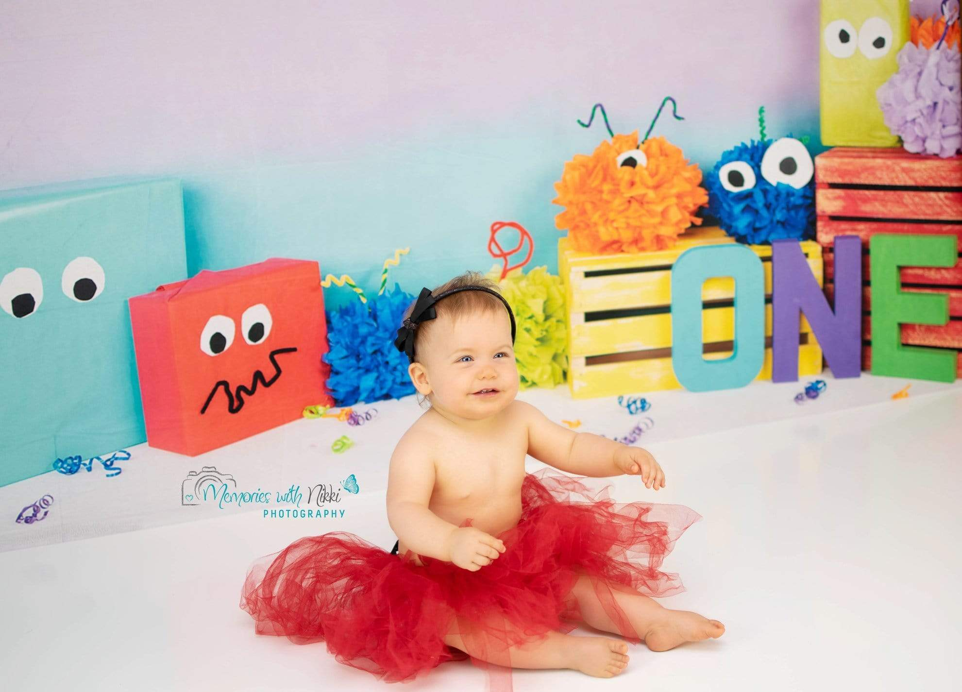 Load image into Gallery viewer, Kate Monster 1st Birthday Children Backdrop for Photography Designed By Arica Kirby
