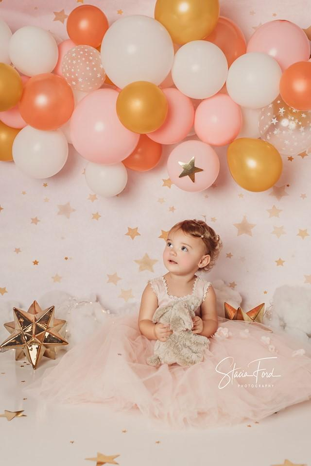 Load image into Gallery viewer, Kate Golden Stars Pink Birthday Backdrop for Children Photography Designed by JFCC
