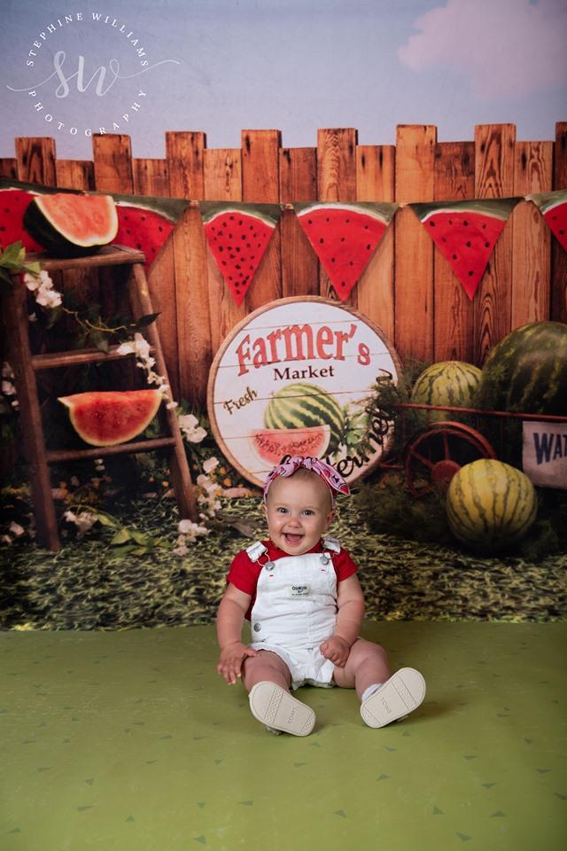 Load image into Gallery viewer, Kate Sunset Fence With Watermelons Children Backdrop for Photography Designed by Stephanie Gabbard