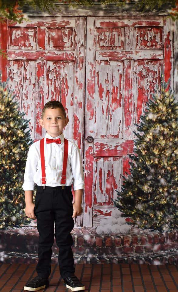 Load image into Gallery viewer, Kate Red Doors Christmas Children Backdrop for Photography Designed by Pamela Hughes photography