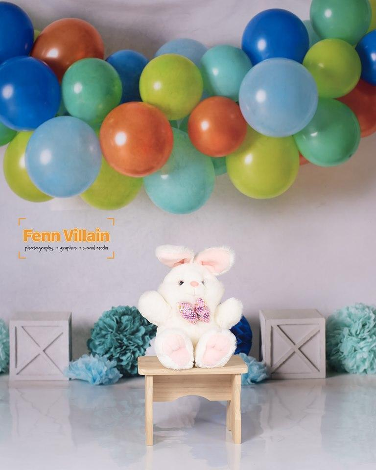 Kate Blue Orange Green Birthday Balloons Backdrop for Photography Designed By Mandy Ringe Photography