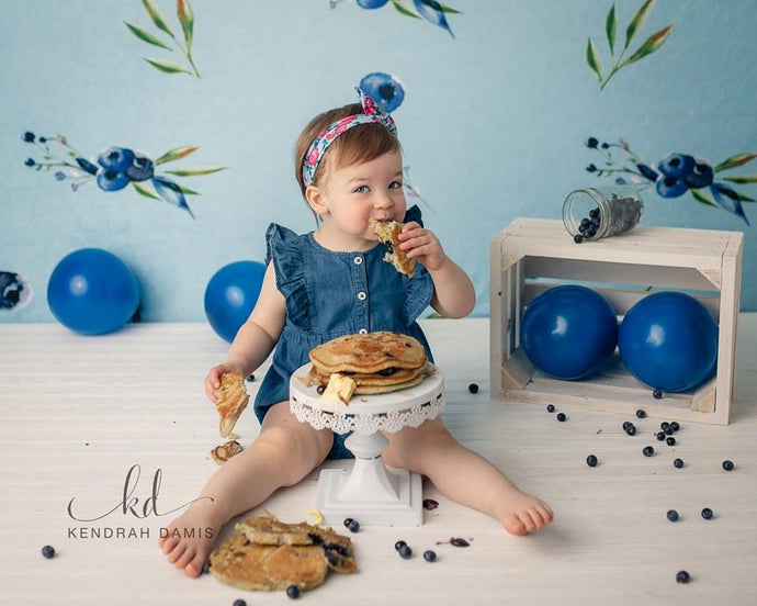 Kate  Blueberries Summer Backdrop for Photography Designed By Leann West