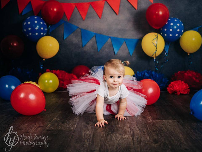 Kate Primary Party with Balloons Backdrop for Children Photography Designed By Tyna Renner