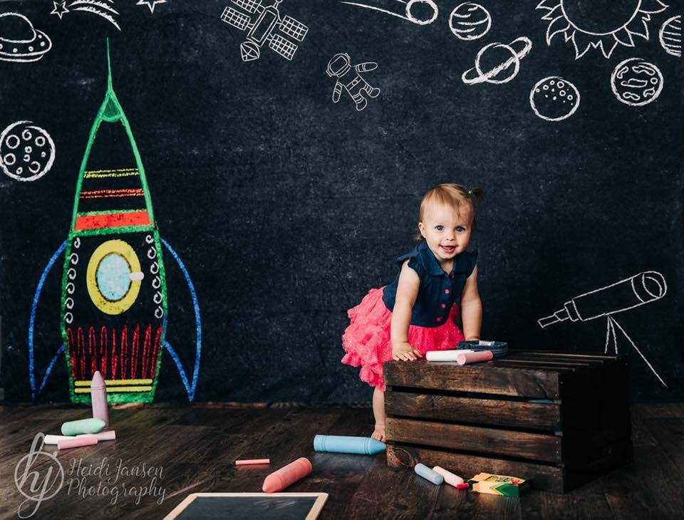 Kate Back to School Space Backdrop for Photography Designed by Marina Smith