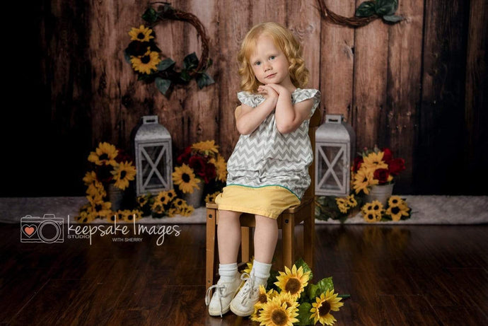 Kate Sunflowers Lanterns Backdrop for Photography Designed By Stacilynnphotography
