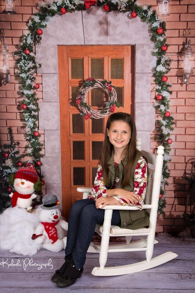 Load image into Gallery viewer, Kate Christmas Holiday Door with Snow Backdrop for Photography