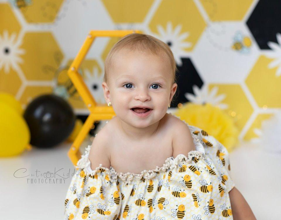 Load image into Gallery viewer, Kate Bumble Bee Summer Backdrop for Photography Designed by Megan Leigh Photography