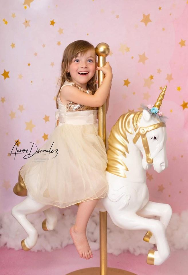 Kate Golden Stars Pink Birthday Backdrop for Children Photography Designed by JFCC