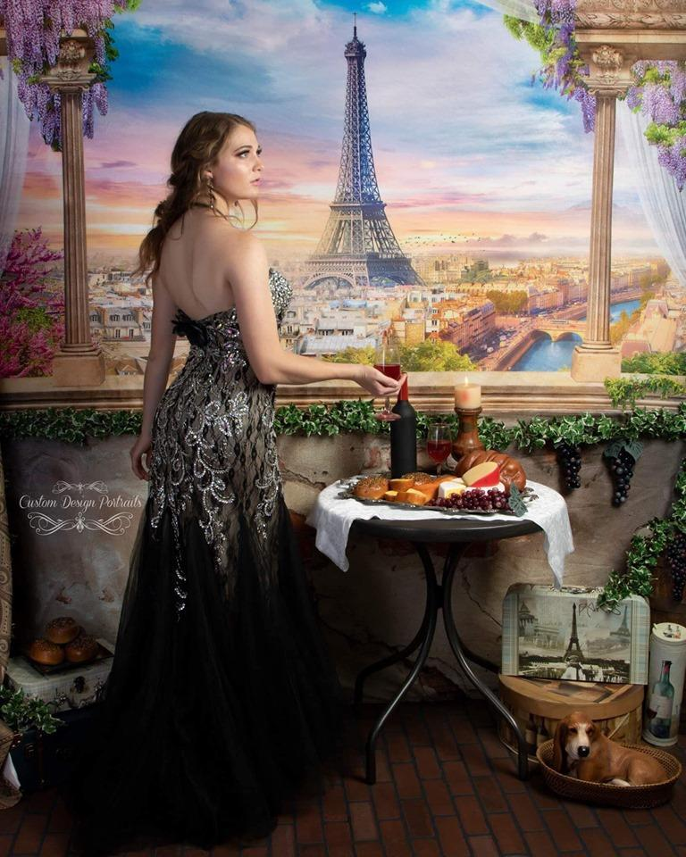 Load image into Gallery viewer, Kate Colored Flower Flowers Backdrop Eiffel Tower Paris City
