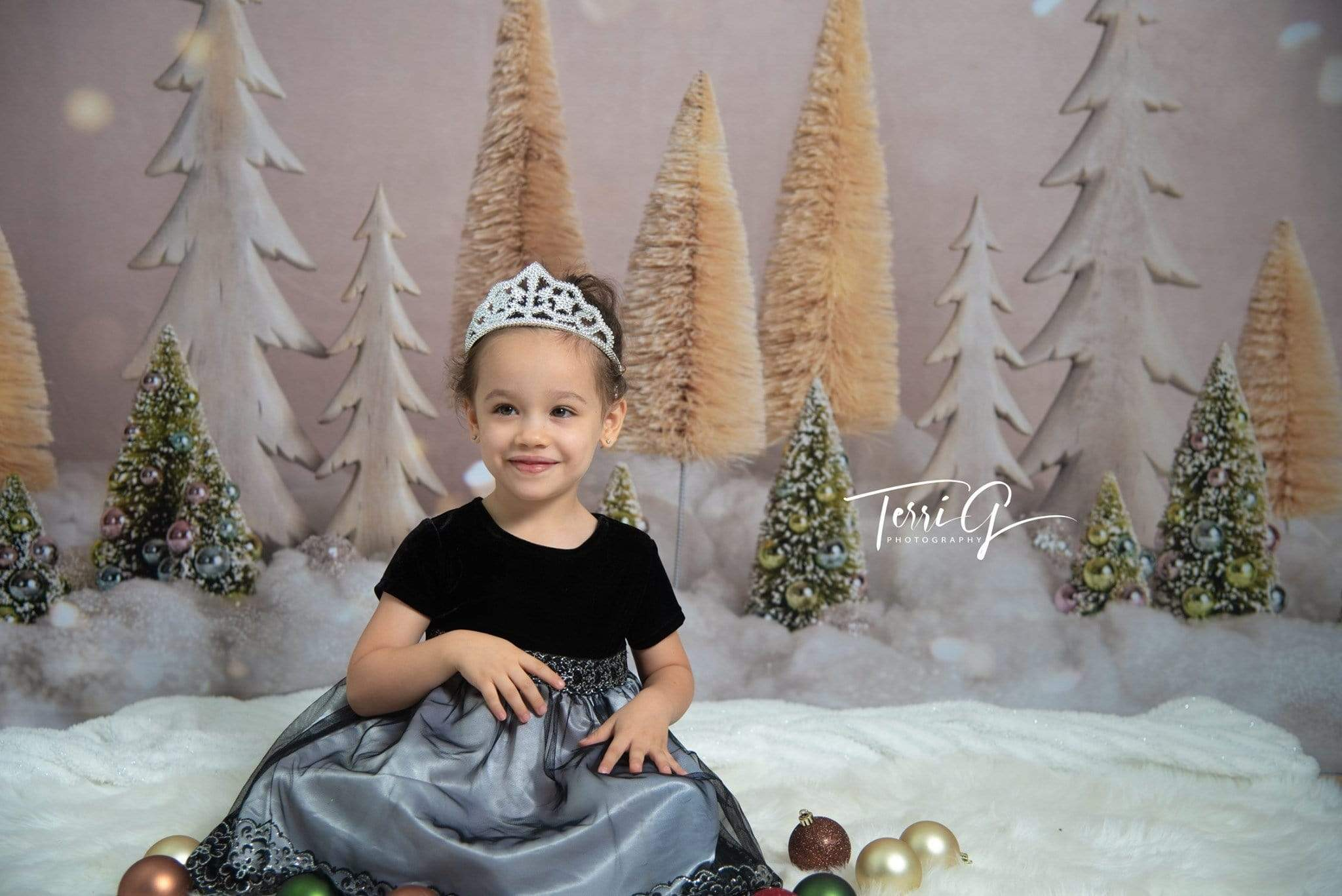 Load image into Gallery viewer, Kate Elegant Christmas Trees with Glitter Backdrop for Photography Designed By Mandy Ringe Photography