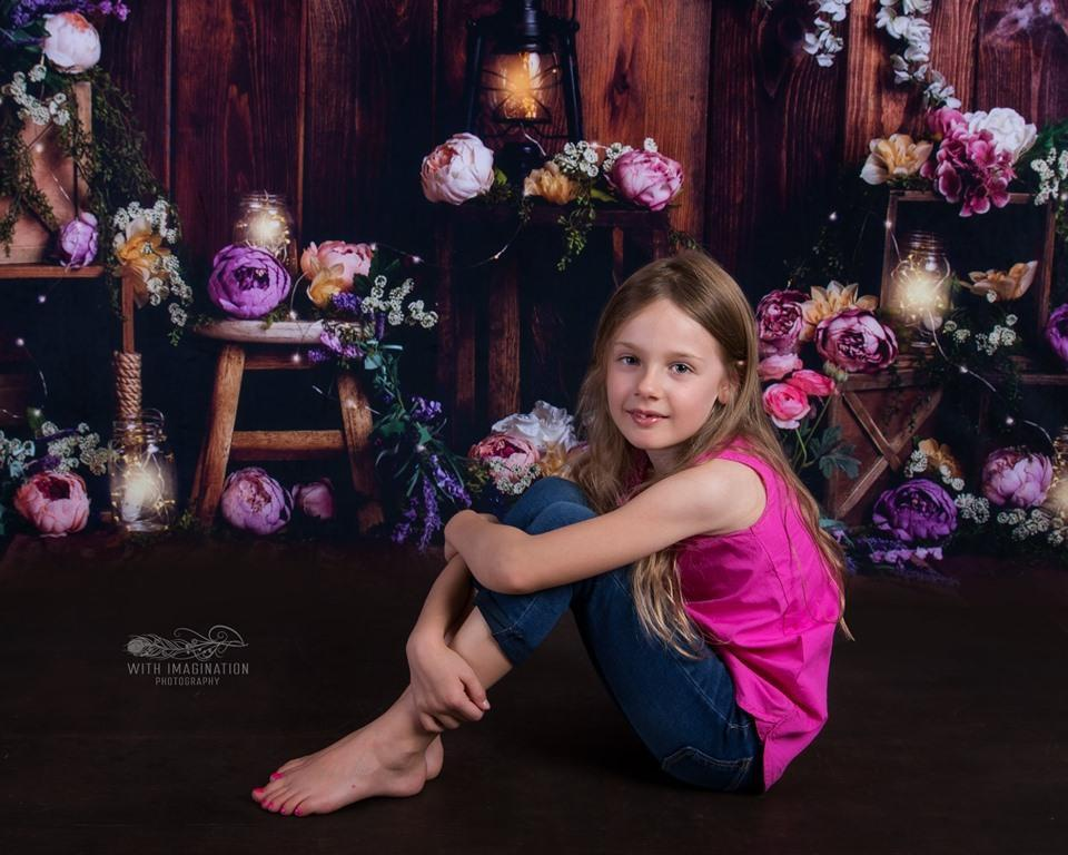 Kate Lamps Art Floral Wooden Backdrop for Photography Designed by Megan Leigh Photography