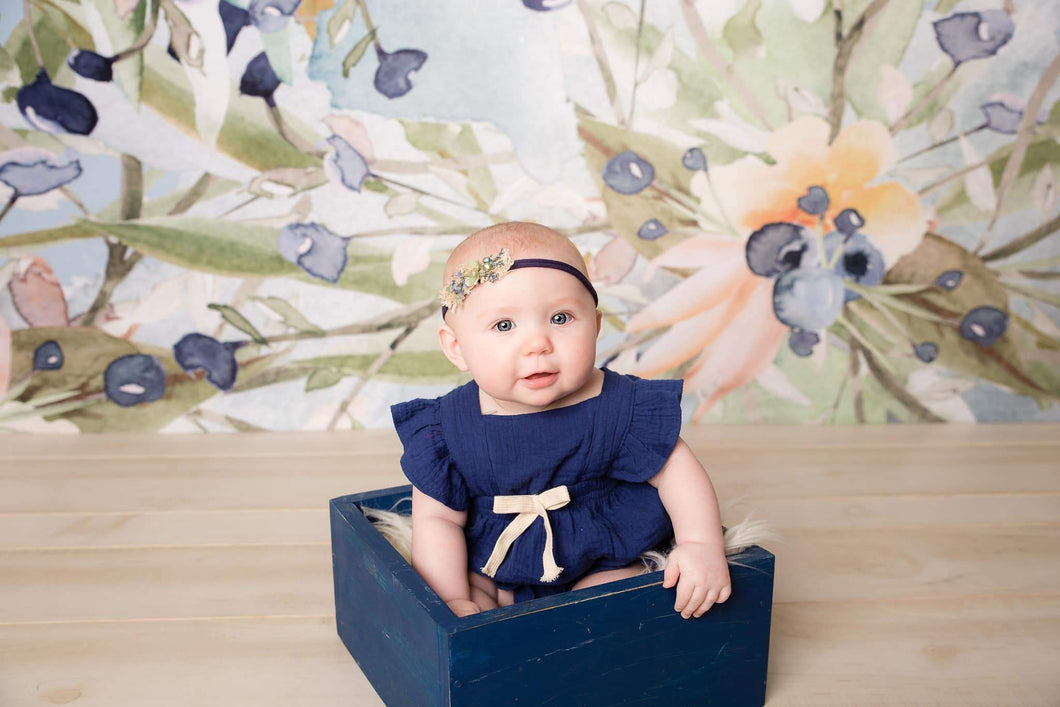 Kate Blueberry Green Flowers Backdrop for Photography Designed By Leann West