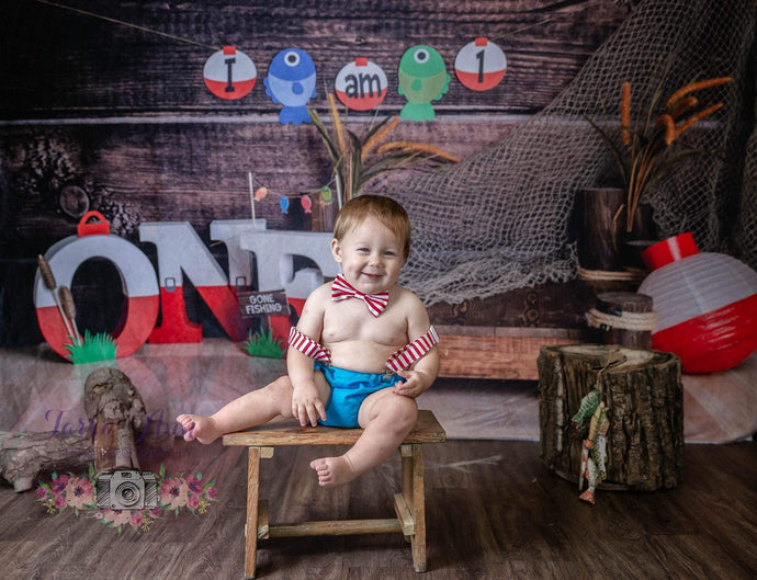 Kate 1st Birthday Go Fishing Wooden Backdrop for Photography Designed By Leila Steffens