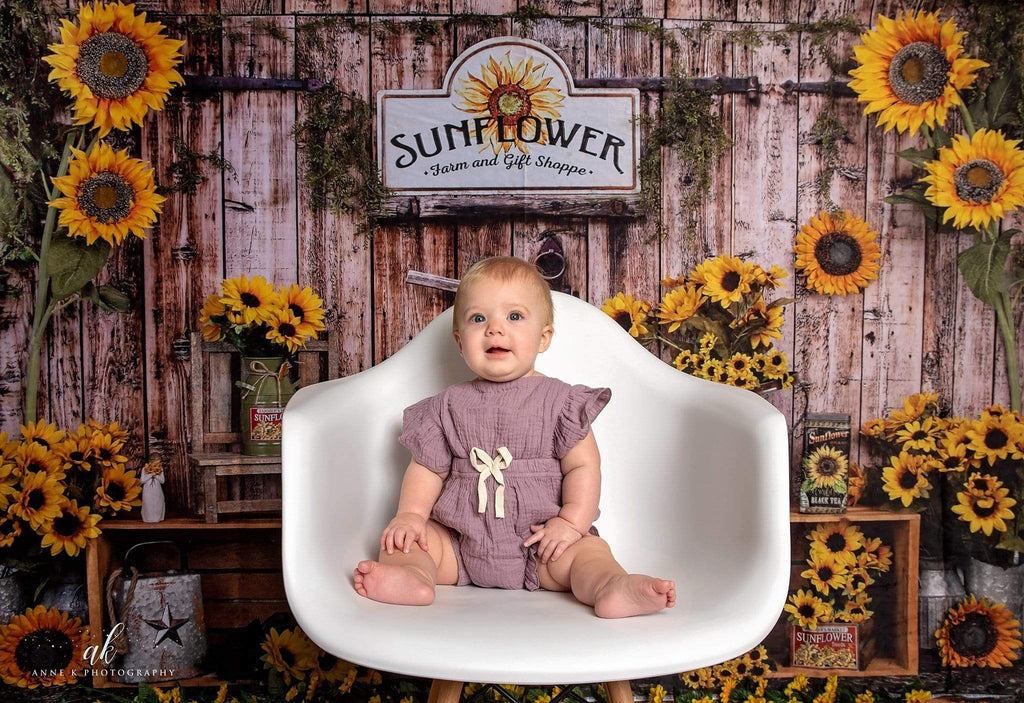 Kate Sunflower Gift Shop Wood Fall Backdrop