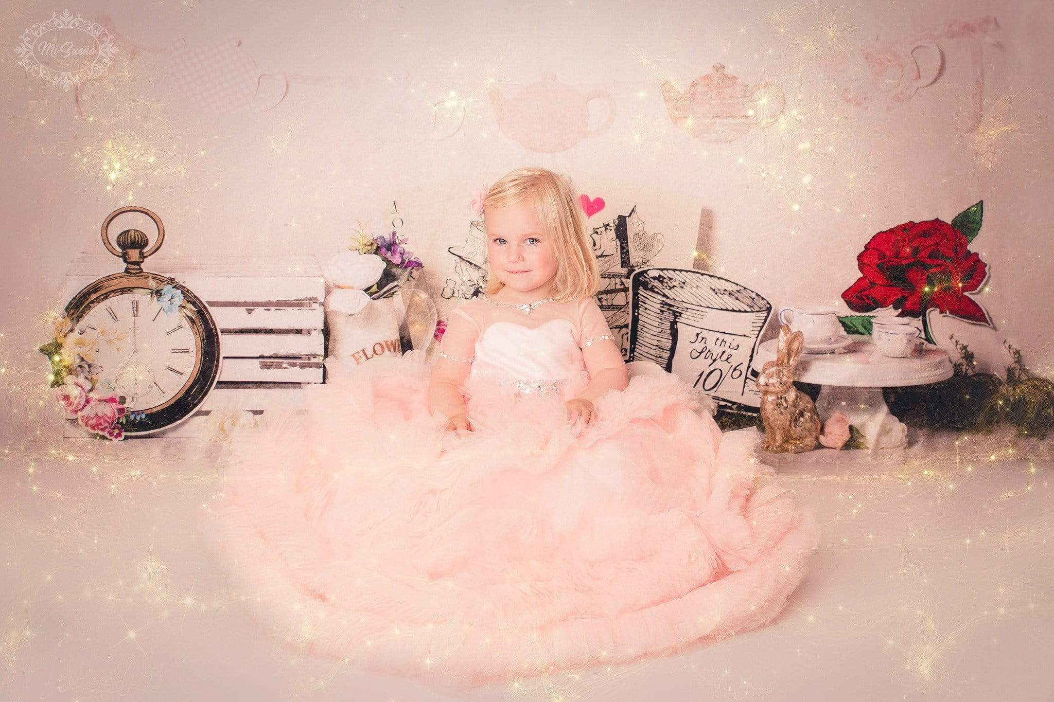 Load image into Gallery viewer, Kate Vintage Tea Party Children Backdrop for Photography Designed by  Laura Lee Photography