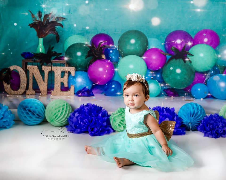 Load image into Gallery viewer, Kate 1st Birthday Balloons Bokeh Backdrop for Photography Designed by Cassie Christiansen Photography