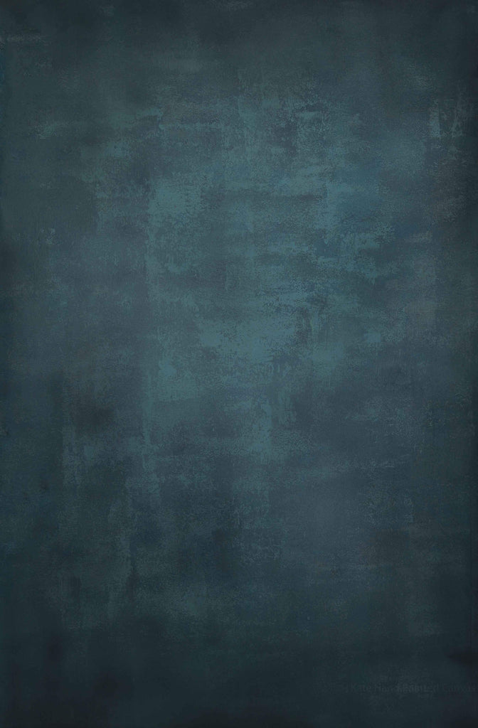Kate Abstract Texture Turquoise Dark Color Hand Painted Canvas Backdrop